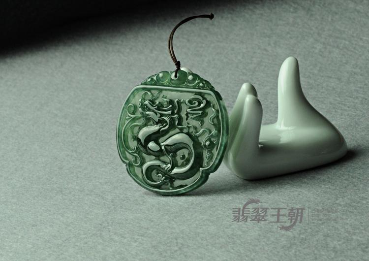 冰种油青缅甸翡翠龙牌挂件