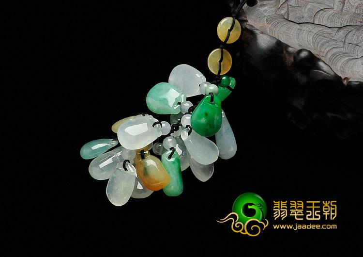 冰种三彩缅甸翡翠水滴手机链