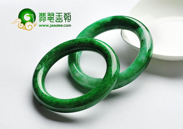 细糯种浓绿缅甸翡翠A货圆条手镯(54.3mm-54.7mm)