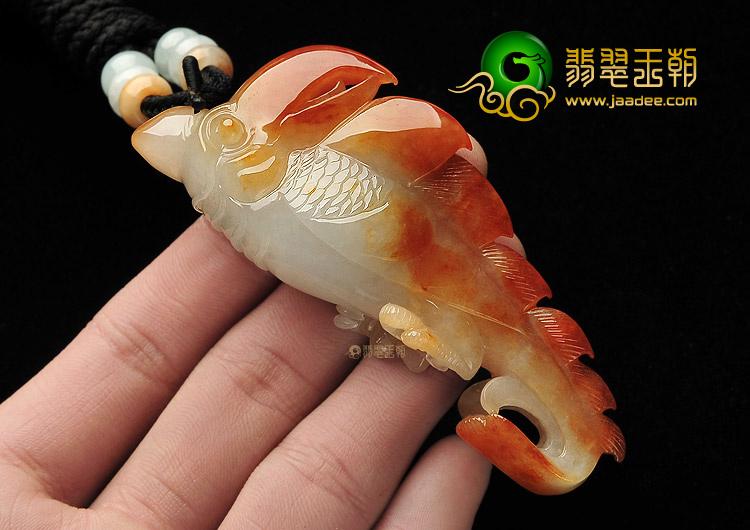 黄翡/糯冰种红黄翡缅甸翡翠A货富贵鸟挂件