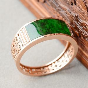 (超值推荐)冰种花青镶玫瑰金钻石戒指