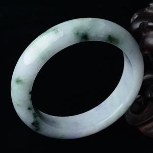 糯冰种春带彩手镯(53.5mm)