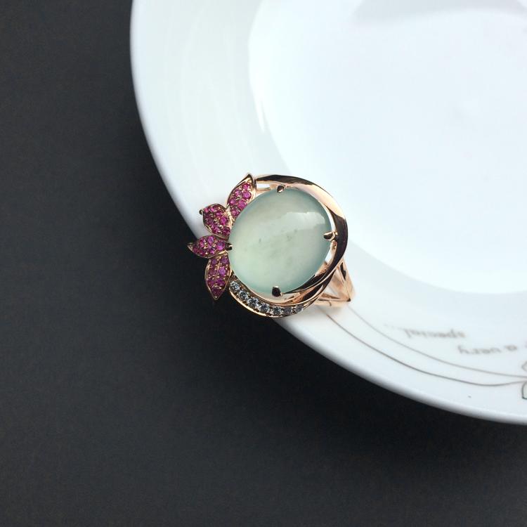 (超值推荐)冰种晴水镶玫瑰金钻石戒指