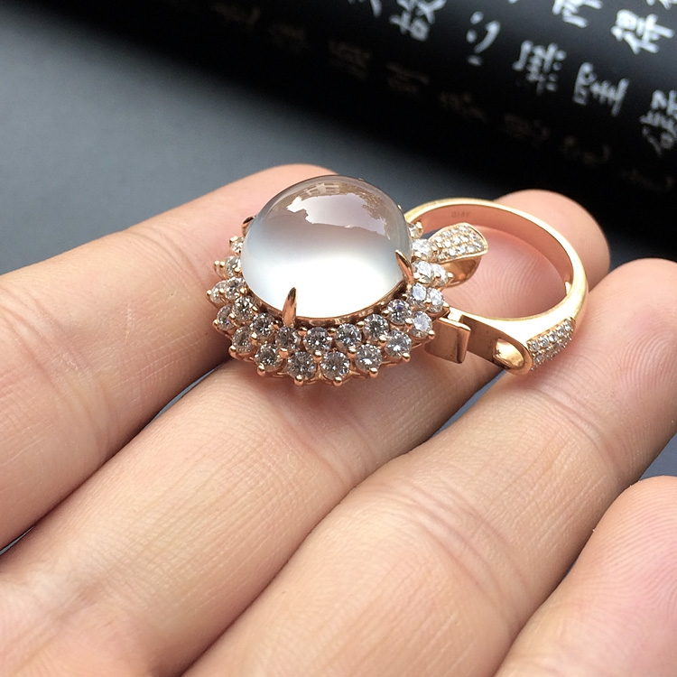 玻璃种无色镶玫瑰金钻石戒指/胸坠两用