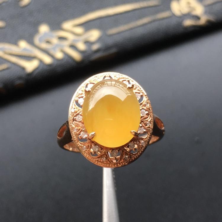 (超值推荐)冰种黄翡镶玫瑰金钻石戒指